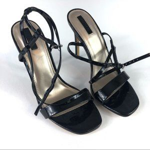 F21 Black Strappy Patent Leather Heels 7